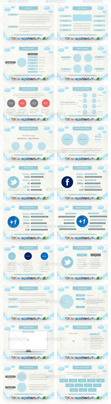 social media presentation دانلود قالب پاور پوینت با تم شبکه های اجتماعی و افکت های زیبا
